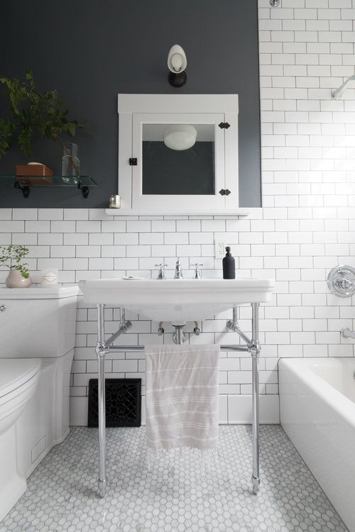 Bathroom Design With White Subway Tile In Vintage Inspired