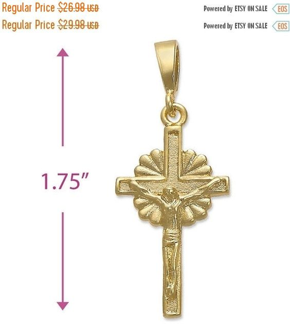"FANCY 1.75"" Crucified Jesus Christ Pendant Charm 14k Yellow Gold Over Brass Plain Holy Prayer Pendant For Necklace Christianity Gift"