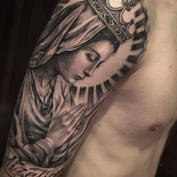 Clean ink Virgin Mary by Harner - Tattooism Seoul #tattoos