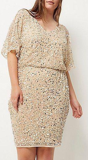 awesome Plus Size nude embellished kimono dress...