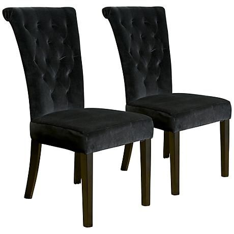 charlotte black velvet upholstered dining chair set of 2 basement ideas pinterest set of. Black Bedroom Furniture Sets. Home Design Ideas