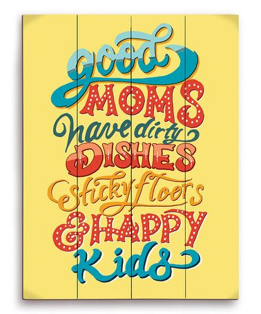 Loving this Yellow 'Good Moms' Wood Wall Art on #zulily! #zulilyfinds