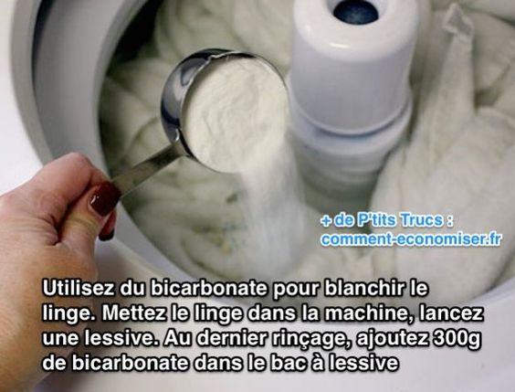 Vous avez des vêtements clairs qui commencent à tirer sur le gris ? Utilisez du bicarbonate de sodium pour les blanchir.  Découvrez l'astuce ici : http://www.comment-economiser.fr/bicarbonate-de-soude-blanchir-le-linge.html?utm_content=buffera3a9f&utm_medium=social&utm_source=pinterest.com&utm_campaign=buffer