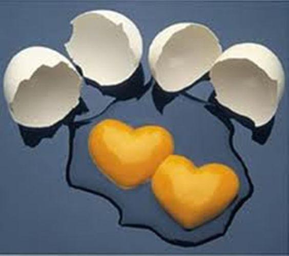 Ovos em formato de coração: Heart Heart, Heart Shapes, Egg Yolks, Valentine
