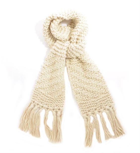 Opus grof gebreide sjaal met flosjes - NummerZestien.eu