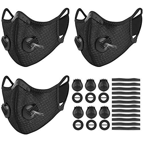 Kungfuren 3 Sets Sports Facial Masks With Activated Carbon Filter Cycling Mask With 6 Breathing Valve An In 2020 Cycling Mask Activated Carbon Activated Carbon Filter