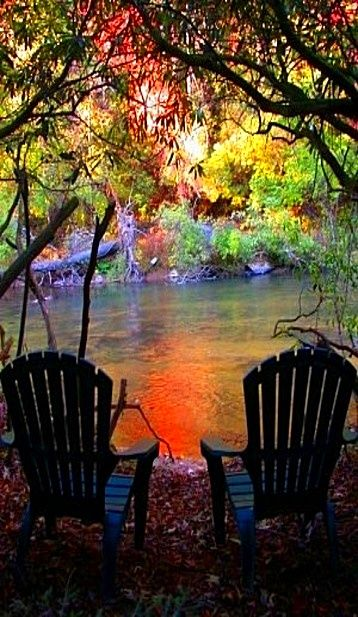 Sitting in backyard by the river