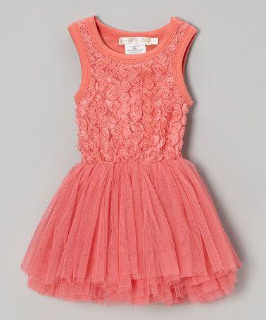 Designer Kidz Coral Rosette Tulle Tutu Dress - Toddler &amp- Girls ...