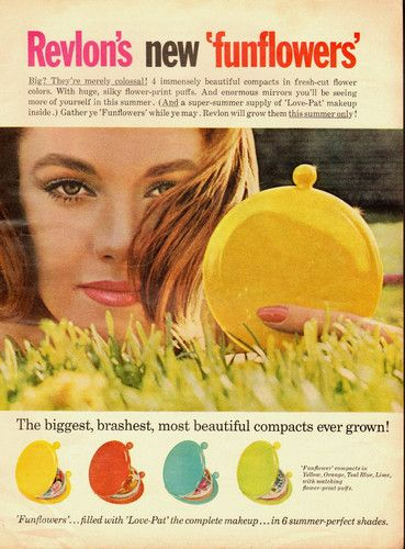 "1964 Vintage Ad for Revlon's ""Funflowers' Compacts Make Up Bright Colors 071413 