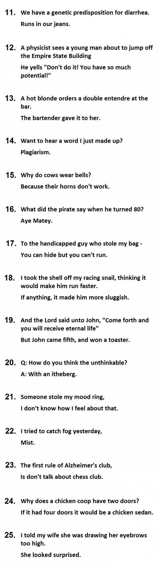 The 25 Best Two Line Jokes...Part 3