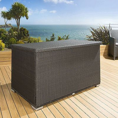 Luxury-Outdoor-Garden-Black-Rattan-Storage-Box-Cupboard-Chest-New