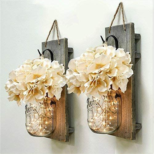 Habom Mason Jar Sconce Rustic Home Wall Decor With Led Fairy Lights Handcrafted Hanging Mason Ja Mason Jar Sconce Led Fairy Lights Rustic Wall Decor