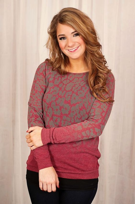 Glamour Farms - Snow Leopard Top - $32 - Brick Red