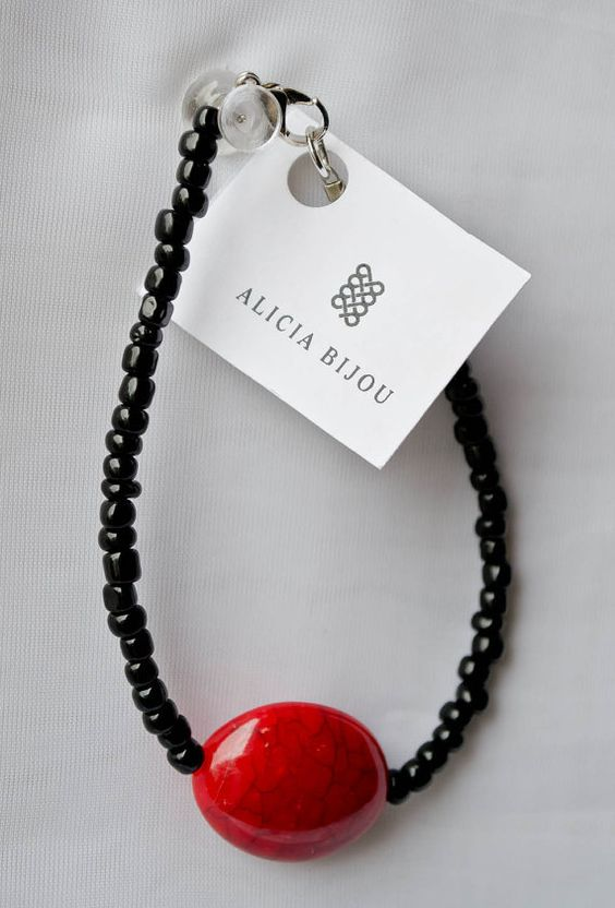Black and Red Marble Bead Bracelet SALE by AliciaBijouCrafts, $5.00