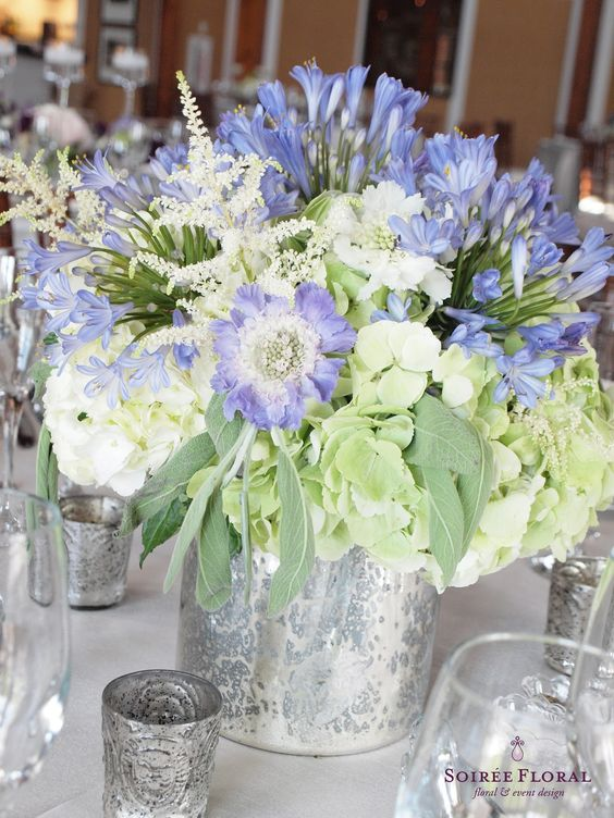 blue and green centerpieces Soiree Floral
