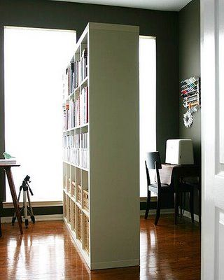 Ikea expedit as room divider soho office pinterest for Studio apartment office