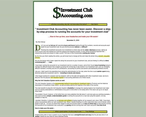 Investment Club Accounting Com Easy Accounting For Investment Clubs Investment Club Investing Accounting