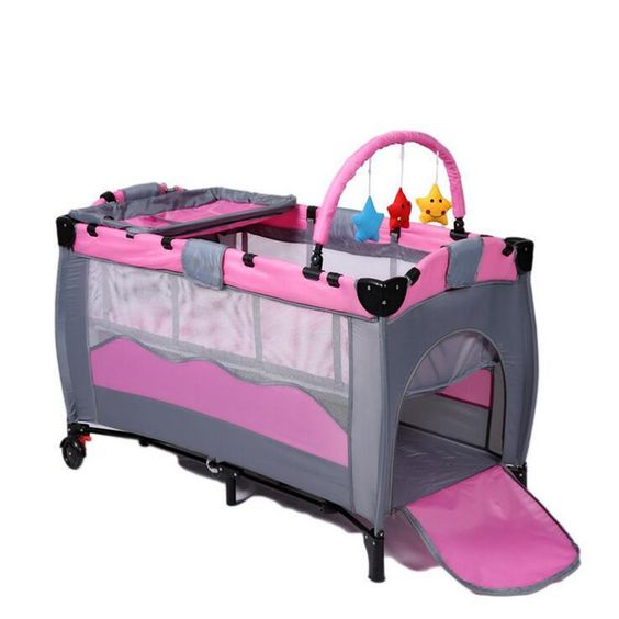 $428.89 (Buy here: http://appdeal.ru/el1f ) High Quality Infant Cartoon Crib Shelf Exporting High-profile European Foldable Playpen Baby Bed Wholesale for just $428.89
