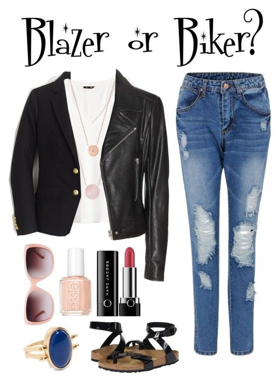 """Blazer or Biker?"" by irene-ireen ❤ liked on Polyvore featuring H&M, Birkenstock, Michael Kors, J.Crew, Balenciaga, Marc Jacobs, Essie, Tory Burch, Chico's and birkenstocks"