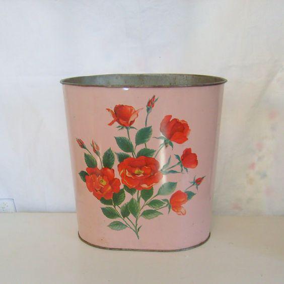 Vintage waste basket trash can pink with red roses vintage pink and baskets - Pink kitchen trash can ...
