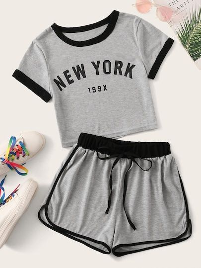 Romwe Girls 2 Piece Shorts Set Graphic Crop Tops and Shorts Athletic Outfit