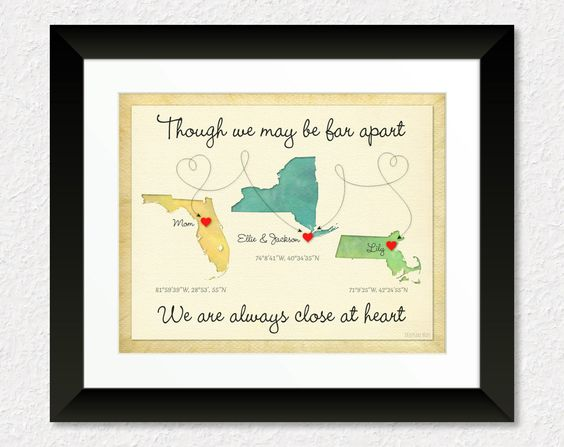 Personalized Long Distance Gift, Mothers Day Gift, Birthday Gift for Mom, Family Gift, Long Distance Quote, Keepsake Print by KeepsakeMaps on Etsy for $26.95