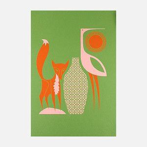 Aesop's Fox and Stork print. These prints have a Mid Century feel. Love them.
