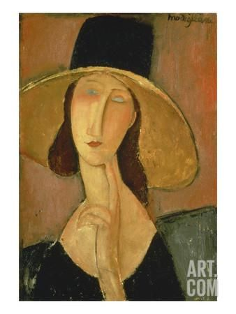 Portrait of Jeanne Hebuterne in a Large Hat Giclee Print by Amedeo Modigliani at Art.com