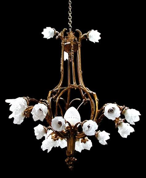 Beautiful American Victorian Chandelier with Bronze Frame & Glass Flower Shades