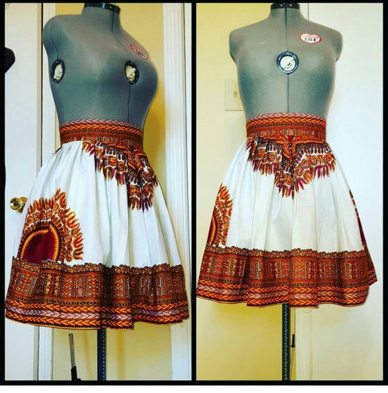 Dashiki gathers skater mini skirt The skirt is fully lined Has two invisible pockets Has the zipper on the back Available in all sizes NOTE