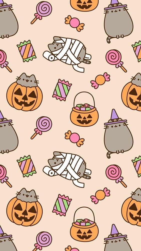 Pin By Rachel Summers On Cats Halloween Wallpaper Pusheen Kawaii Halloween