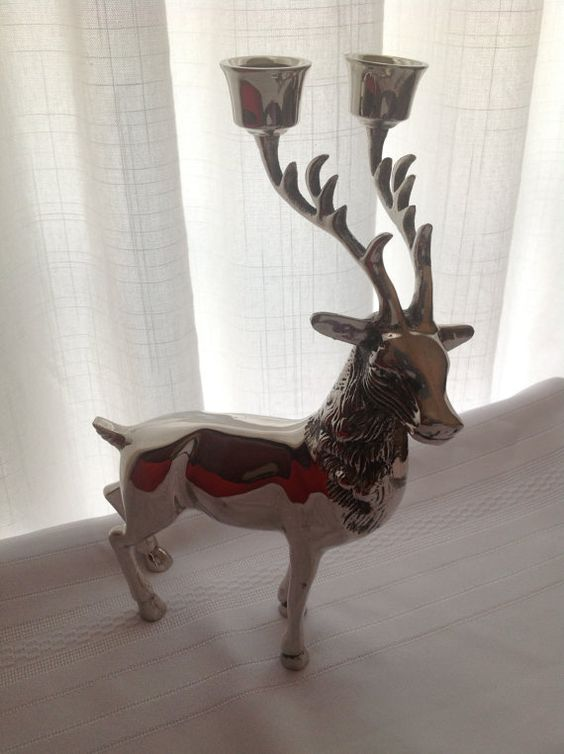 Godinger Silver Plated Reindeer Candle Holder | Reindeer, Silver ...