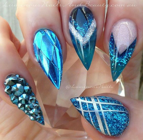 Gorgeous blue stiletto nails