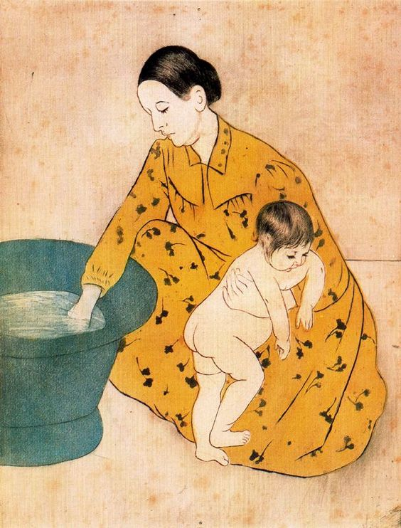 'The Child's Bath' by Mary Cassatt, influenced by Japanese wood block prints. 1893. At the time she created this painting, the high vantage point, tight cropping of the forms, and bold outline were all unconventional artistic devices.