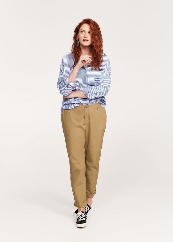 Pantalon chino coton  -  Grandes tailles | Violeta by MANGO France
