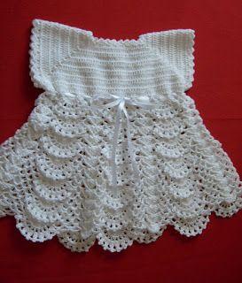"""Tejer: """"El arte de crear con tus manos"""".: Vestido a crochet para bebé de 3 meses"""