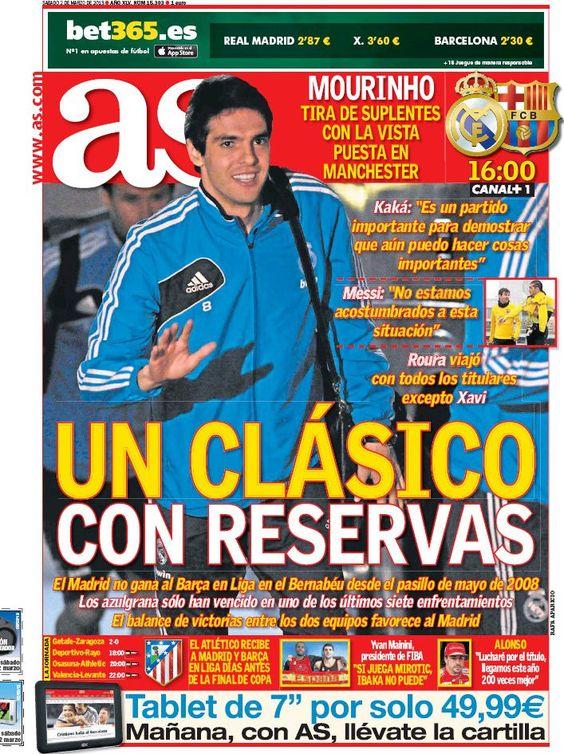 Los Titulares y Portadas de Noticias Destacadas Españolas del 2 de Marzo de 2013 del Diario Deportivo AS ¿Que le parecio esta Portada de este Diario Español?