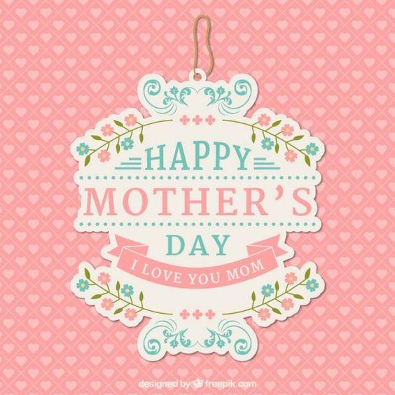 Preciosa etiqueta del día de la madre Vector Gratis