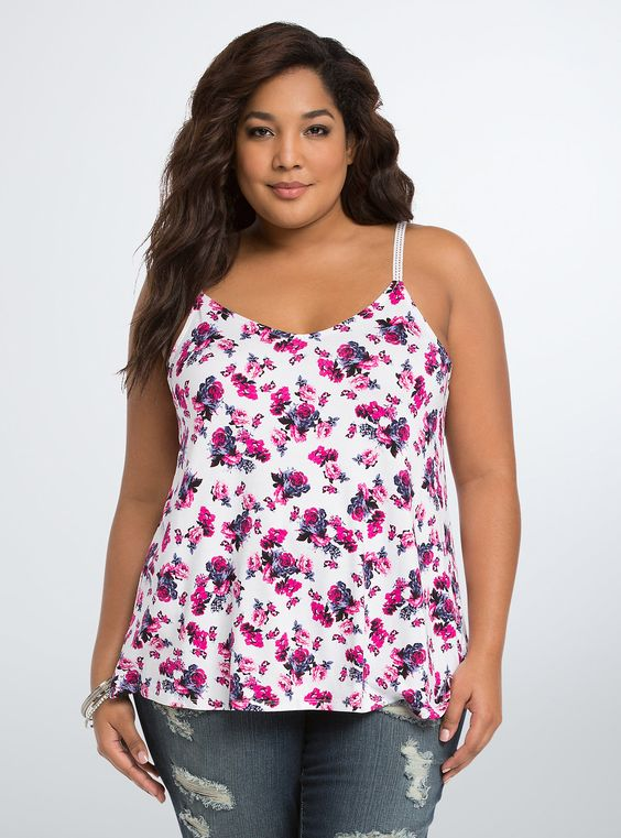 "<p>Style dilemma? Flowers are the answer (every time). The feminine print shows off on this tank top. Cut with a knit material that is so soft, it'll be love at first touch. Crochet lace adjustable straps complete this tank with style.</p>  <p> </p>  <p><b>Model is 5'10"", size 1</b></p>  <ul> 	<li>Size 1 measures 29 1/2"" from shoulder</li> 	<li>Rayon/spandex</li> 	<li>Wash cold, dry flat</li> 	<li>Imported plus size tank</li> </ul>"