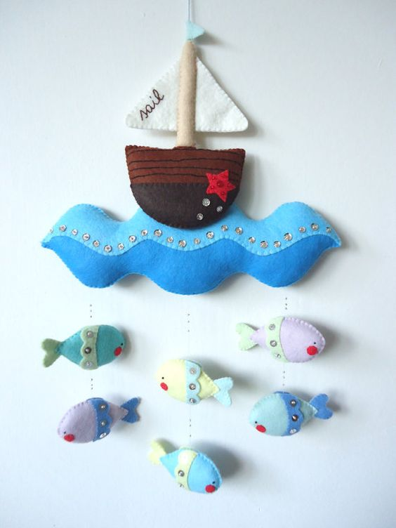 Pdf pattern nautical mobile felt mobile with boat sea for Diy baby mobile felt