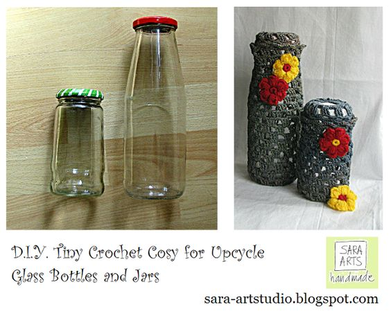 Sara Arts - handmade: D.I.Y. - Tiny Crochet Cosy for Upcycle Glass Bottles and Jars – English Version