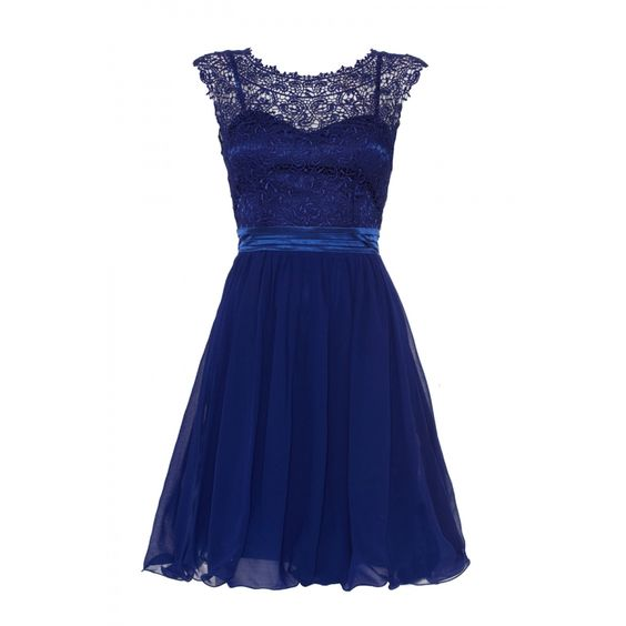 40 Royal Blue Lace Chiffon Prom Dress Quiz Clothing