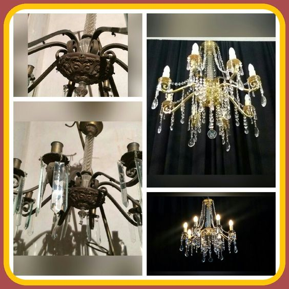 Imponente araña de 8 luces en bronce y cristal con caireles.
