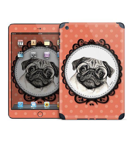 Pug with glasses iPad skin for iPad Mini/Retina by MimoCadeaux, $50.00