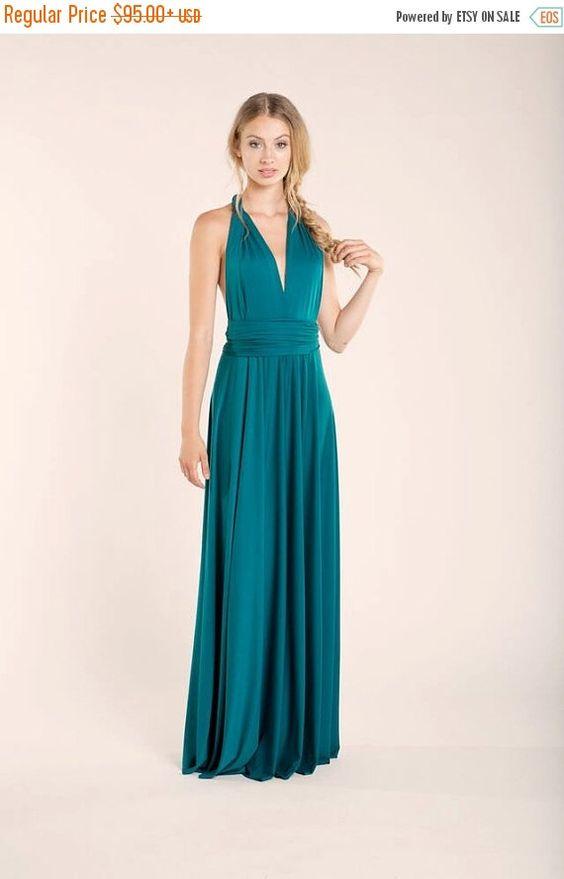 WINTER SALE Teal Maxi dress Bridesmaid dress turquoise by mimetik ...