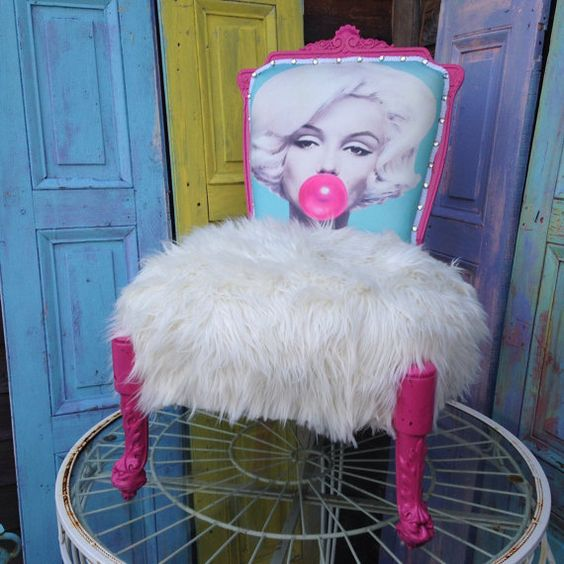 Pop art Marilyn Monroe Bubblegum Chair Hot Pink Faux by 209West