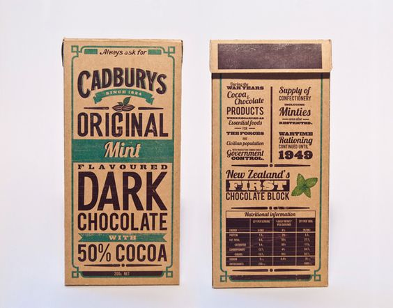 Oliver Ward & Nick Jarvie, 2nd year Design students at Massey University in NZ, redesigned Cadbury, a New Zealand brand dark chocolate. Taking inspiration from Cadbury signage & advertising of old chocolate packagings.