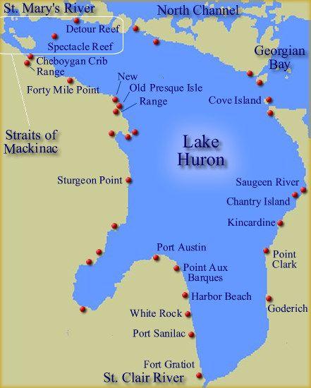 Lake Huron Shipwreck Maps  Lake Huron region  Alpena Mi