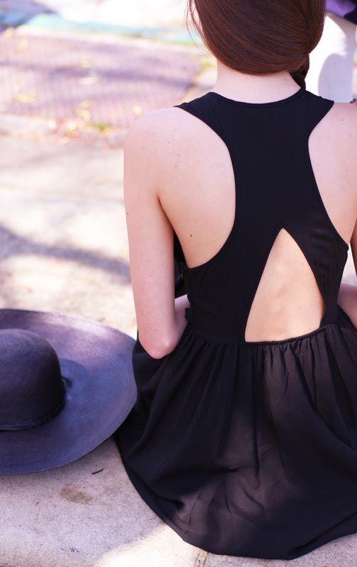 cutout back little black dress