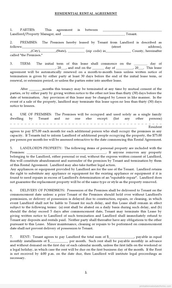Pin by Miranda Smith on TENANCY LEASE AGREEMENT TEMPLATE Pinterest - Residential Rental Agreement